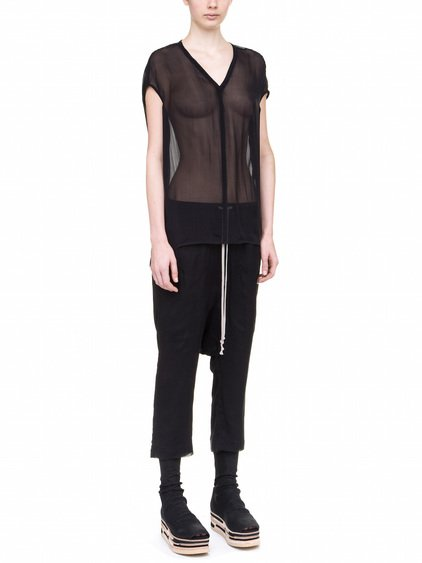 RICK OWENS FLOATING TOP IN BLACK SILK CHIFFON