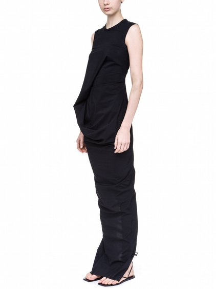 RICK OWENS ELLIPSE DRESS IN BLACK IS SLIGHTLY SEE-THROUGH