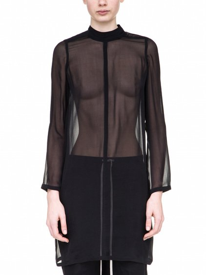 RICK OWENS MOODY LONGSLEEVES TUNIC IN BLACK SILK CHIFFON