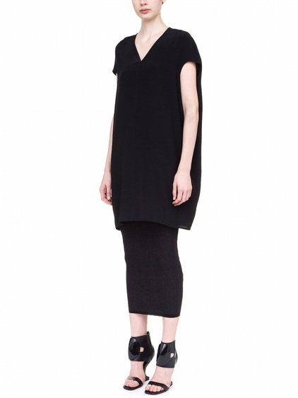 RICK OWENS FLOATING TUNIC IN BLACK SILK CREPE