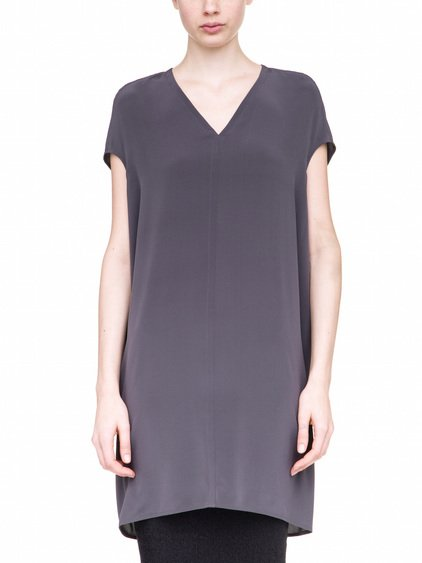 RICK OWENS FLOATING TUNIC IN PURPLE SILK CREPE