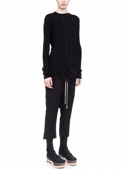 RICK OWENS ABSTRACT CREW NECK SWEAT IN BLACK COTTON