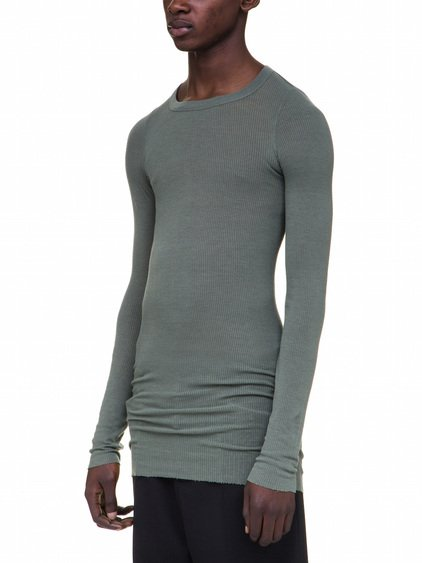 RICK OWENS LONG SLEEVES RIB TEE IN GREEN VISCOSE SILK RIB