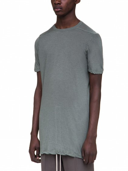 RICK OWENS LEVEL TEE IN GREEN UNSTABLE COTTON