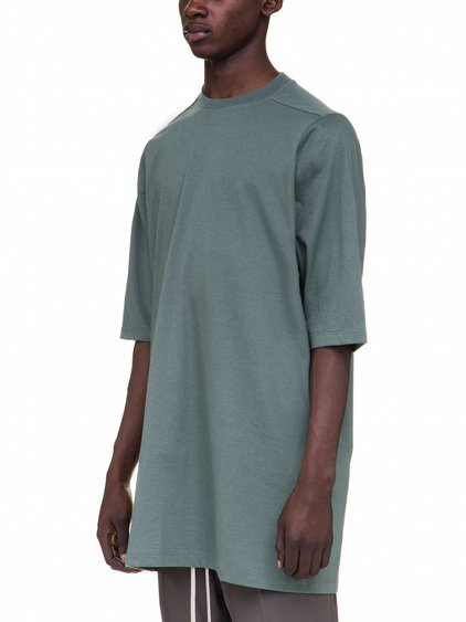 RICK OWENS SHORT SLEEVES CREWNECK TEE IN GREEN COTTON