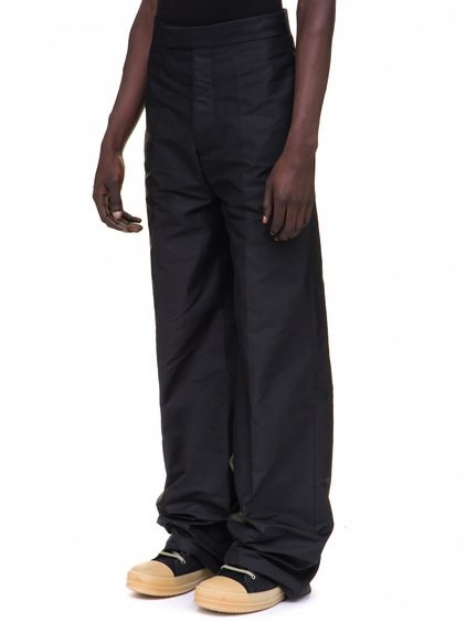 RICK OWENS SOULTRAINS TROUSERS IN BLACK TECH CANVAS