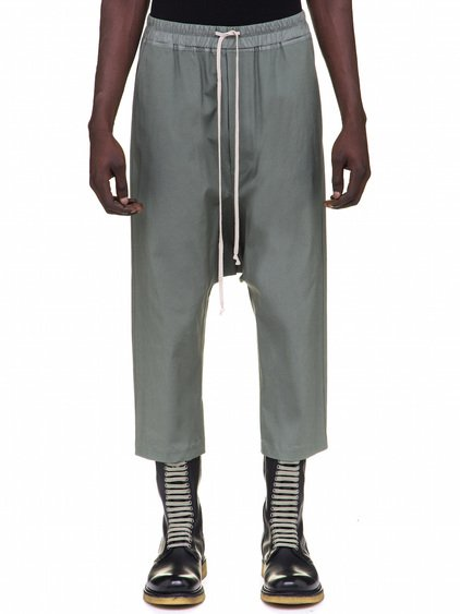RICK OWENS DRAWSTRING CROPPED PANTS IN GREEN