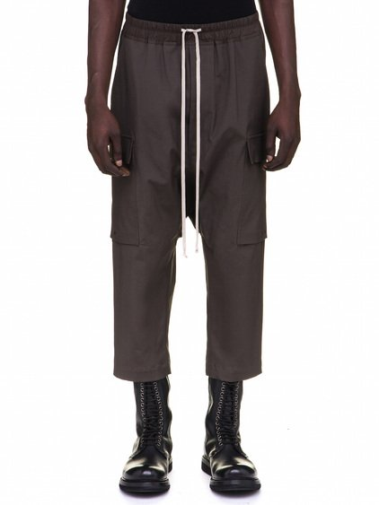 RICK OWENS DRAWSTRING CARGO CROPPED PANTS IN GREY