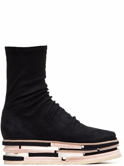 RICK OWENS LEGO SOCKS IN BLACK STRETCH BLISTER LAMB LEATHER