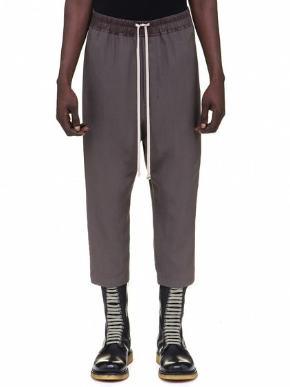 RICK OWENS DRAWSTRING ASTAIRES CROPPED TROUSERS IN GREY
