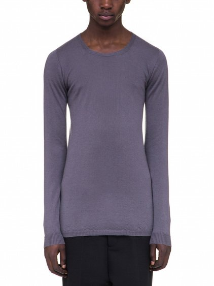 RICK OWENS ROUND NECK SWEATER IN PURPLE CASHMERE