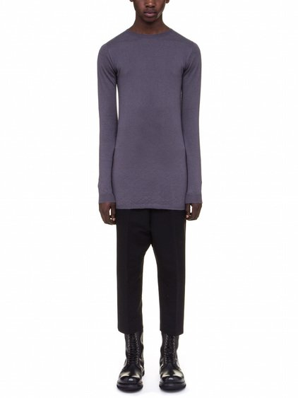 RICK OWENS BIKER LEVEL ROUND NECK SWEATER IN PURPLE CASHMERE