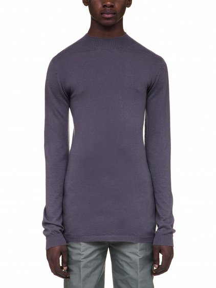 RICK OWENS LEVEL LUPETTO IN PURPLE CASHMERE