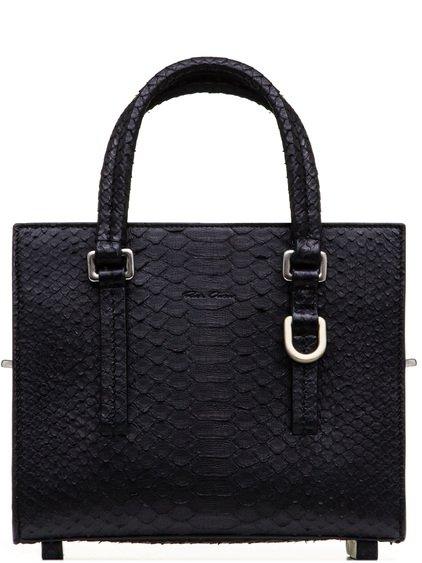 RICK OWENS MICRO EDITH SHOULDER BAG IN BLACK GIANT PYTHON LEATHER