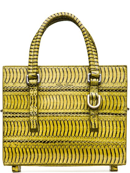 RICK OWENS MICRO EDITH SHOULDER BAG IN ACID YELLOW SNAKE SKIN