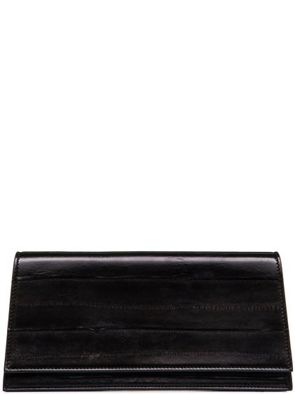 RICK OWENS MIDI CLUTCH IN BLACK LACQUERED EEL LEATHER