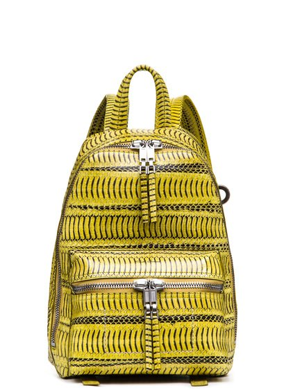 RICK OWENS MINI BACKPACK IN ACID YELLOW SNAKE SKIN