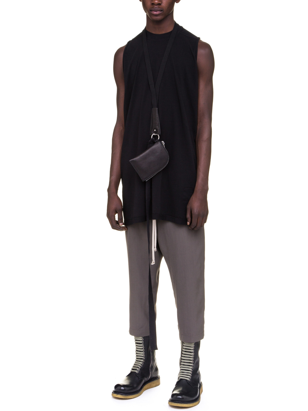 RICK OWENS NECK WALLET IN BLACK CALF LEATHER IS RECTANGULAR
