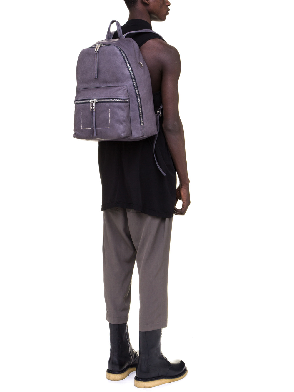RICK OWENS BACKPACK IN PURPLE CALF LEATHER
