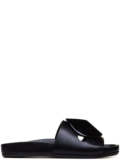 RICK OWENS GRANOLA DISC LACQUERED SANDALS IN BLACK
