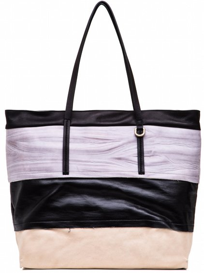 RICK OWENS BIG GLITTER SHOPPER BAG IN BLACK AND NATURAL WHITE LIGHT STRIPES