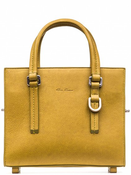 RICK OWENS MICRO EDITH SHOULDER BAG IN YELLOW CALF LEATHER