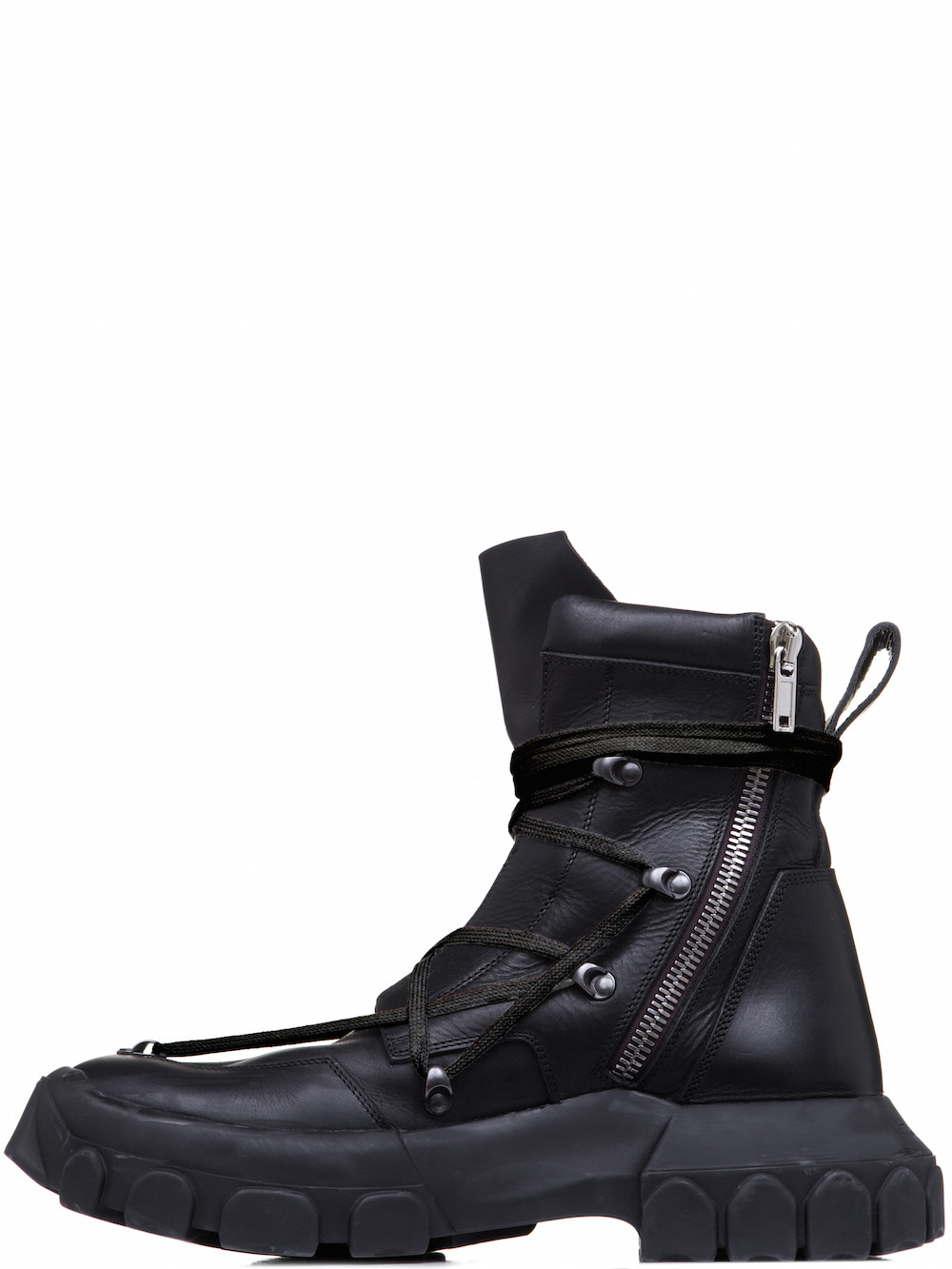 RICK OWENS OFF-THE-RUNWAY LACEUP HIKING BOOTS IN BLACK