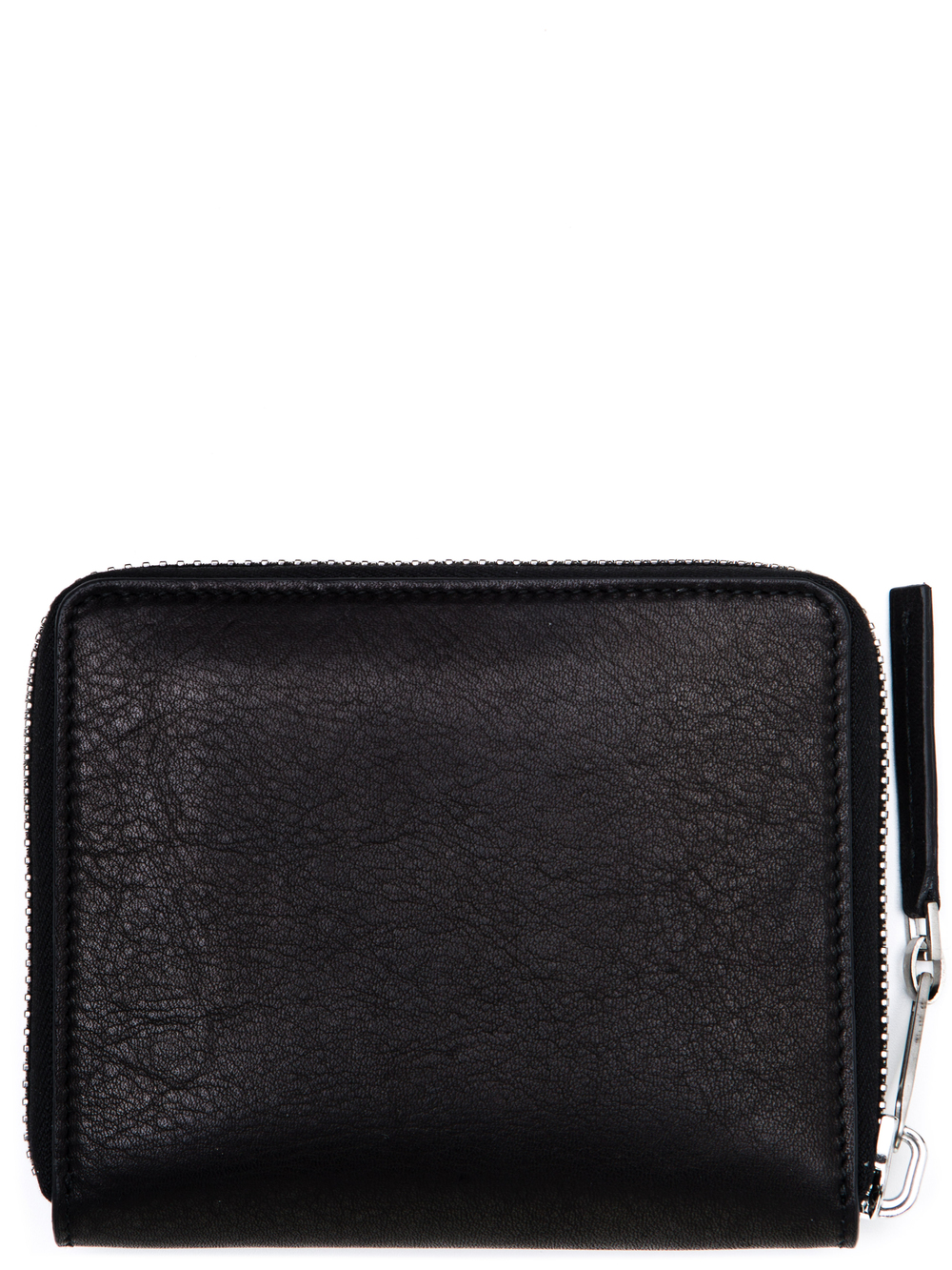 RICK OWENS SMALL ZIPPED WALLET IN BLACK CALF LEATHER