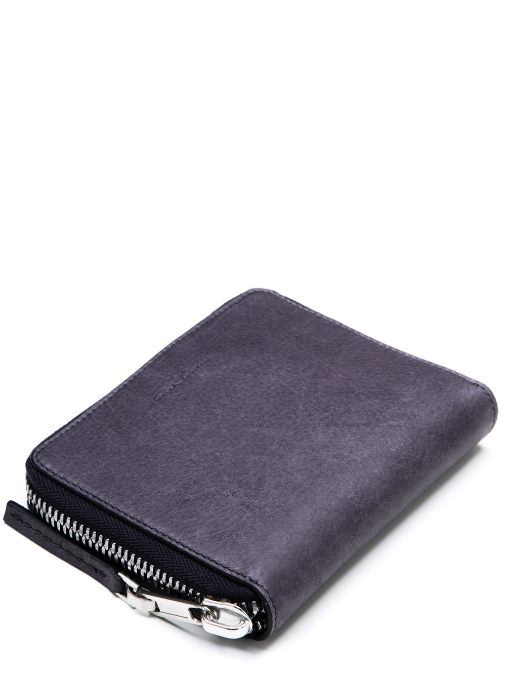 RICK OWENS SMALL ZIPPED WALLET IN PURPLE CALF LEATHER