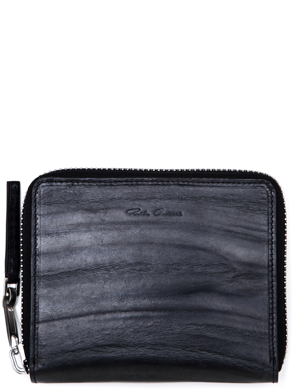 RICK OWENS SMALL ZIPPED WALLET IN BLACK COW LEATHER