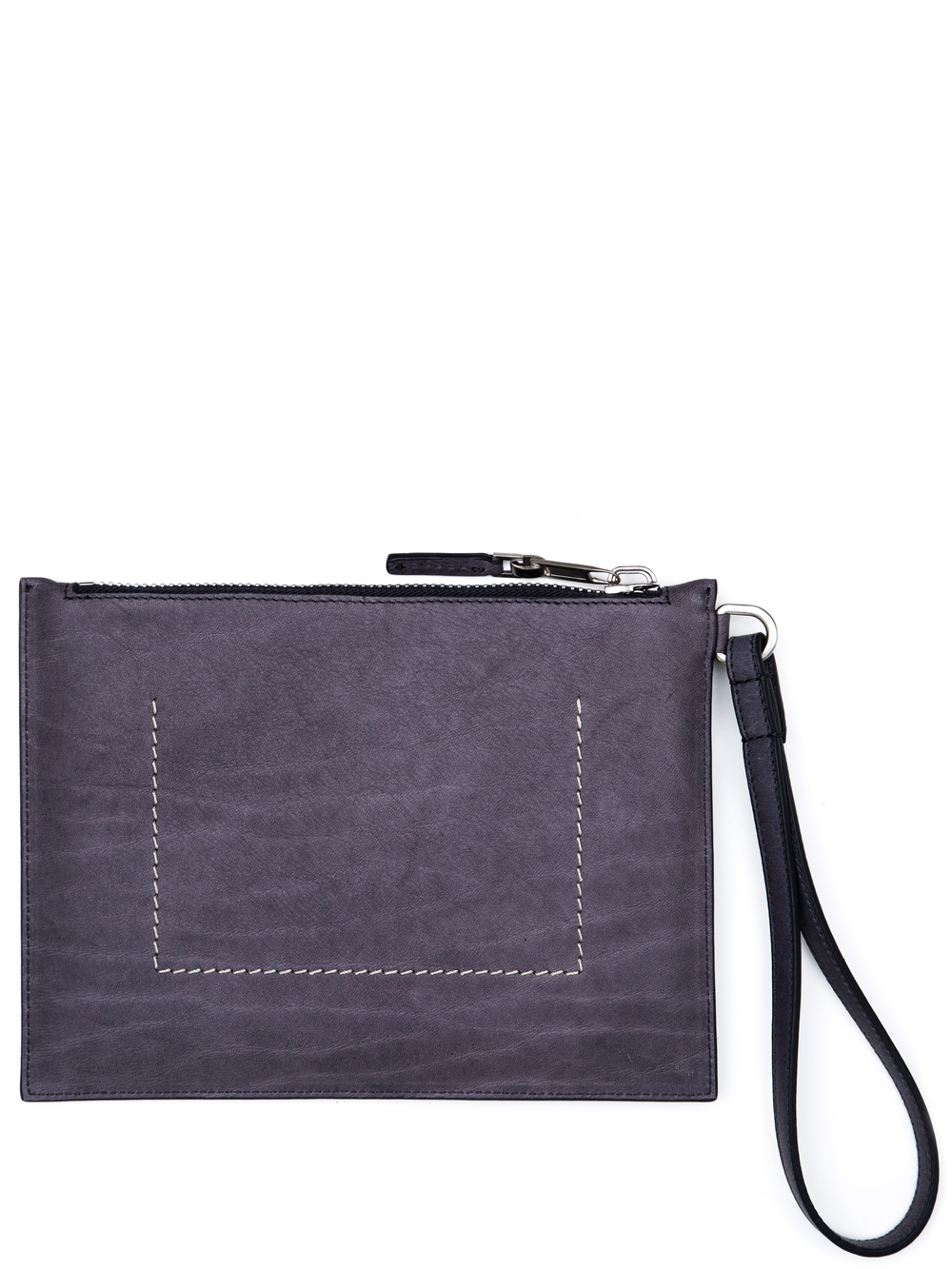 RICK OWENS WRIST POUCH IN PURPLE CALF LEATHER