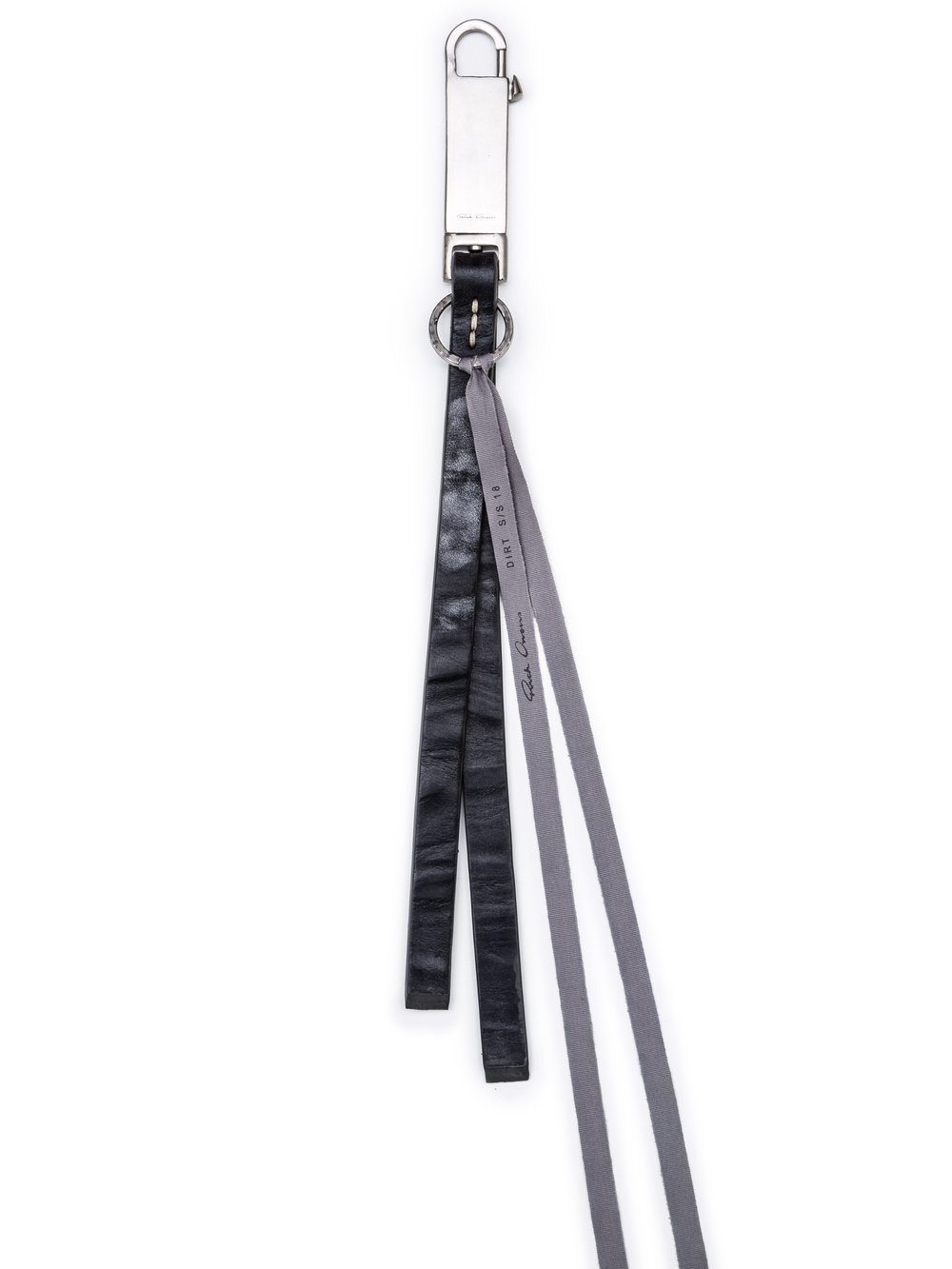 RICK OWENS PLAIN KEYCHAIN IN BLACK CALF LEATHER