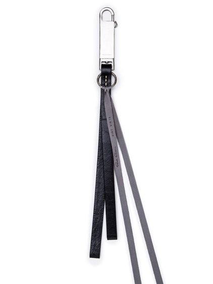 RICK OWENS PLAIN KEYCHAIN IN BLACK BULL LEATHER