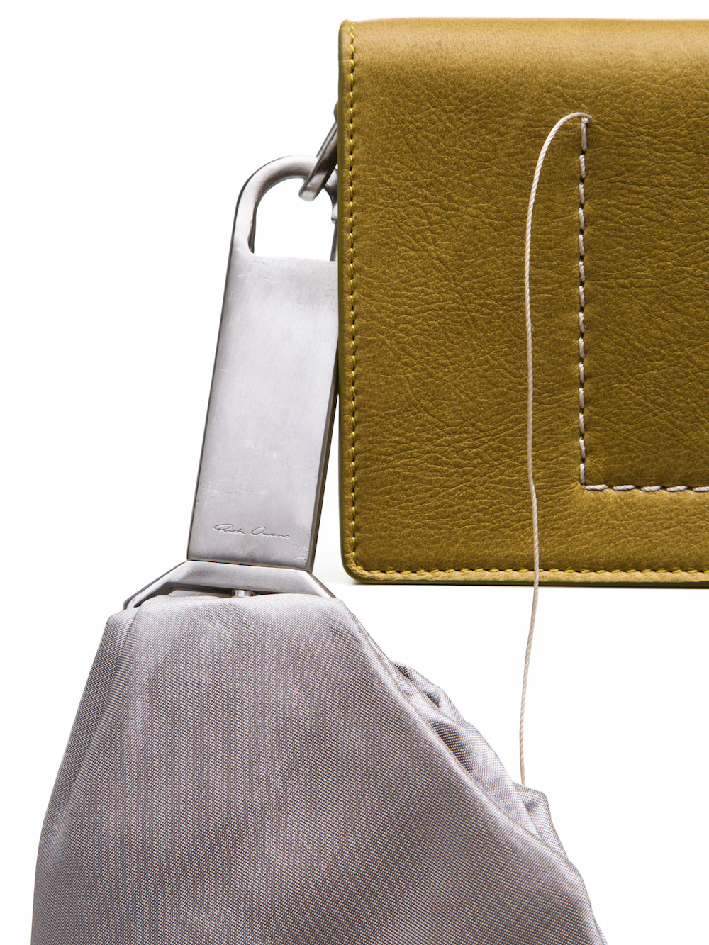 RICK OWENS SASHED MEGA ADRI BAG IN ACID YELLOW