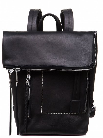 RICK OWENS MINI DUFFLE BAG IN BLACK COW LEATHER