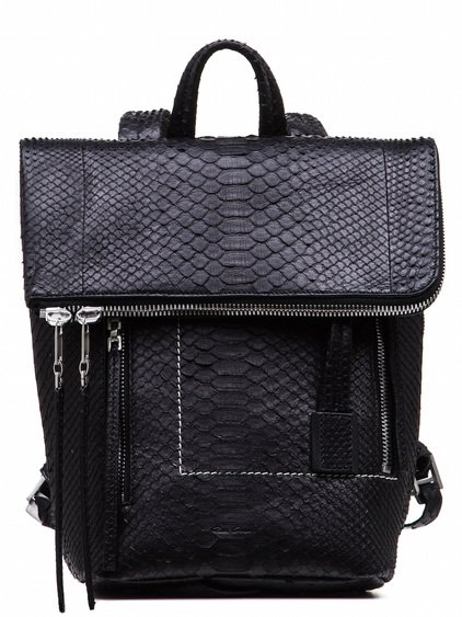 RICK OWENS MINI DUFFLE BAG IN BLACK GIANT PYTHON LEATHER