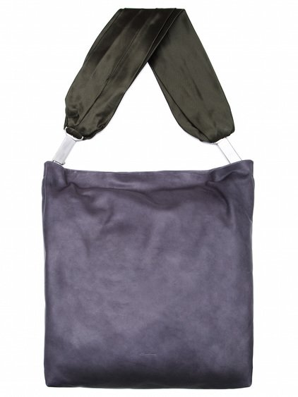 RICK OWENS SASHED MEGA ADRI BAG IN PURPLE CALF LEATHER