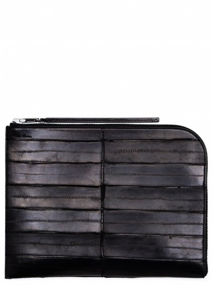 RICK OWENS LARGE ZIPPED POUCH IN BLACK LACQUERED EEL SKIN