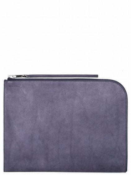 RICK OWENS LARGE ZIPPED POUCH IN PURPLE  CALF