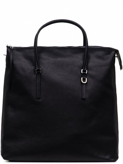RICK OWENS  MEGA SHOULDER BAG IN BLACK CALF LEATHER