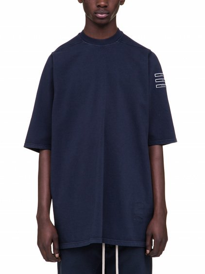 "DRKSHDW JUMBO TEE IN PASSPORT BLUE HORIZONTAL LABEL DETAILS ON ONE SLEEVE WITH THE WORDS: ""SUBHUMAN"", ""INHUMAN"" AND ""SUPERHUMAN""."