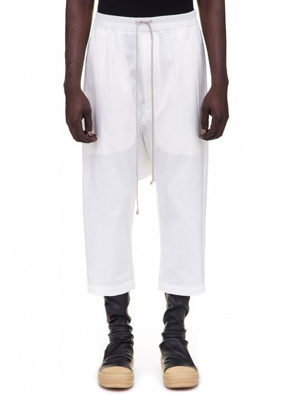 RICK OWENS DRAWSTRING CROPPED PANTS IN WHITE