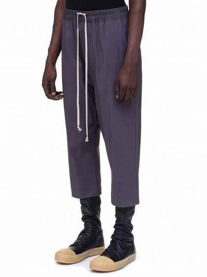 RICK OWENS DRAWSTRING CROPPED PANTS IN PURPLE