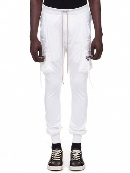 RICK OWENS CARGO JOG PANTS IN WHITE COTTON
