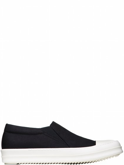 DRKSHDW BOAT SNEAKERS IN BLACK MICRO FAILLE