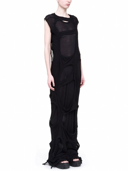 RICK OWENS OFF-THE-RUNWAY MEMBRANE GOWN TEE IN BLACK UNSTABLE COTTON JERSEY