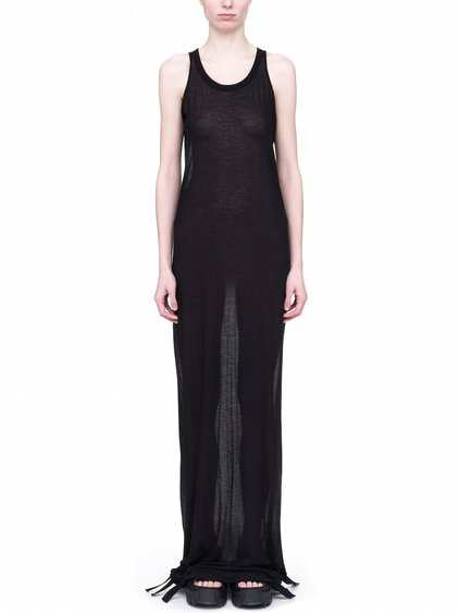 RICK OWENS OFF-THE-RUNWAY MEMBRANE GOWN TEE BASE IN BLACK