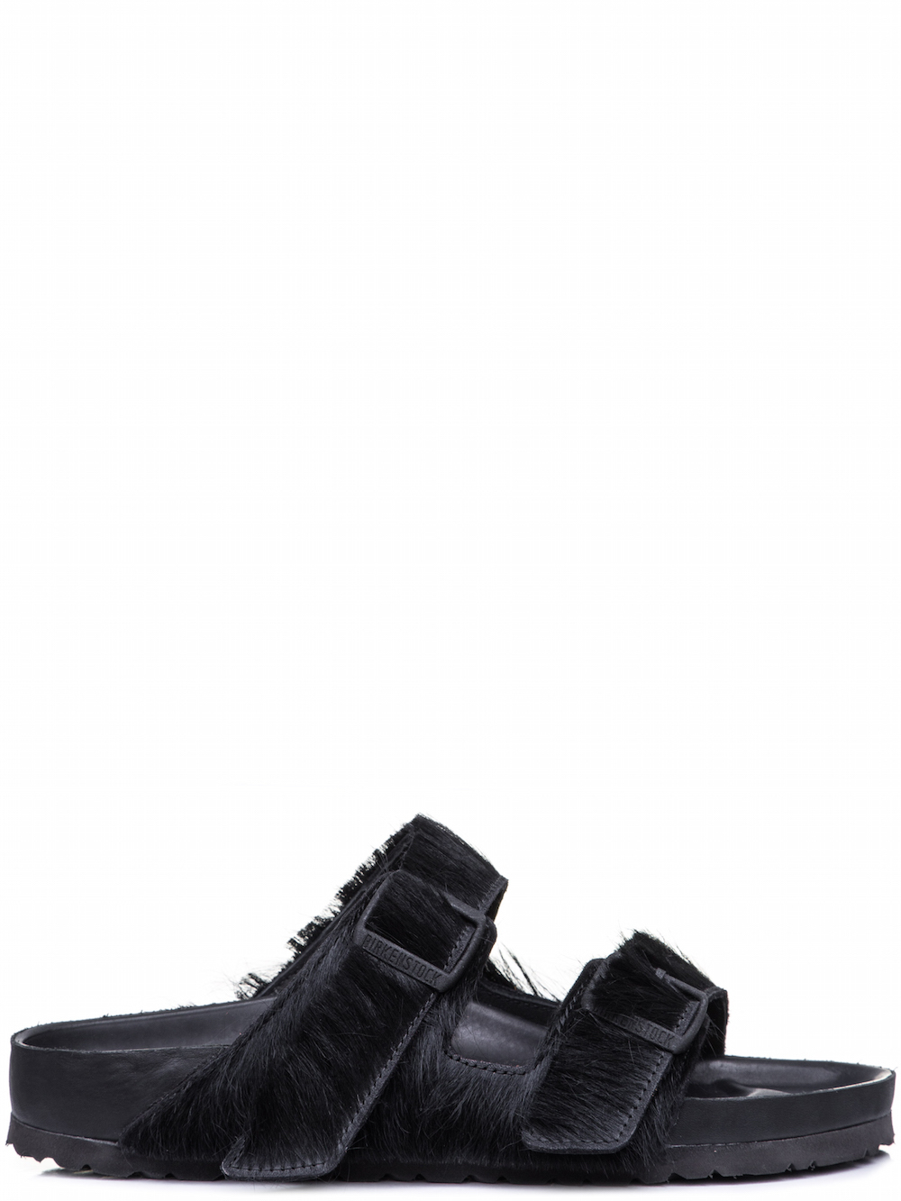 RICK OWENS X BIRKENSTOCK ARIZONA SANDAL IN BLACK COW FUR
