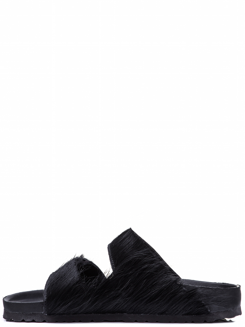 RICK OWENS X BIRKENSTOCK ARIZONA SANDAL IN BLACK FEATURE A COW FUR