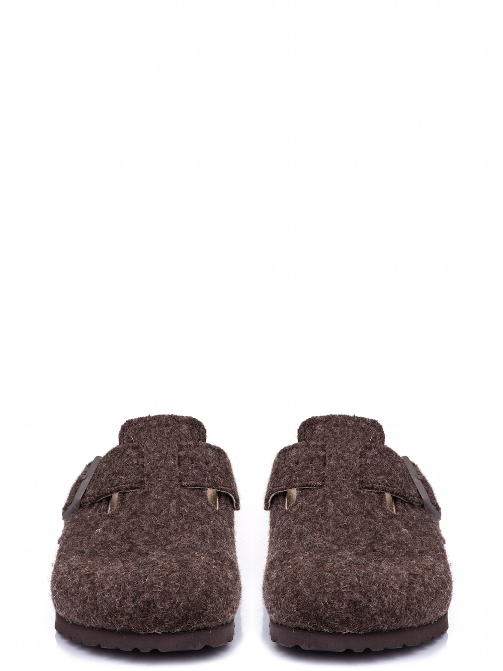 RICK OWENS X BIRKENSTOCK BOSTON CLOG IN BROWN FEATURE A WOOL FELT
